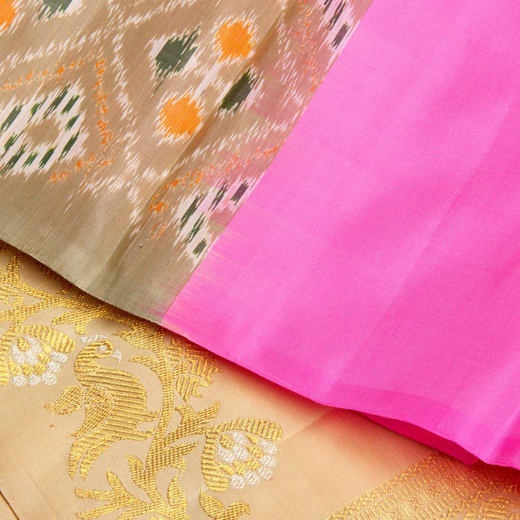 Kuberan Pink Cream Kanchivaram Silk Saree