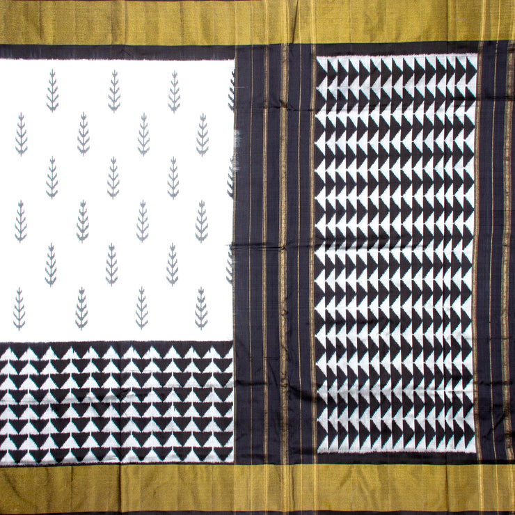 Kuberan White Black Pochampally Silk Saree