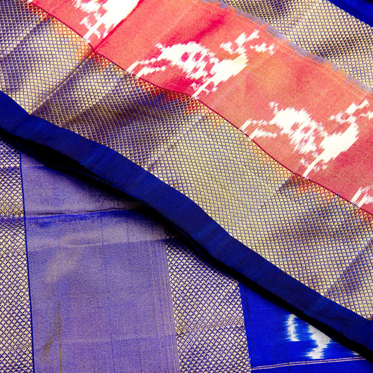 Kuberan Pink Blue Pochampally Silk Saree