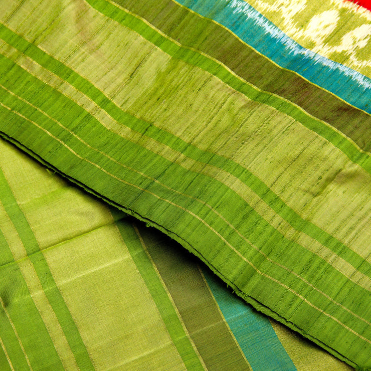 Kuberan Red Green Pochampally Silk Saree