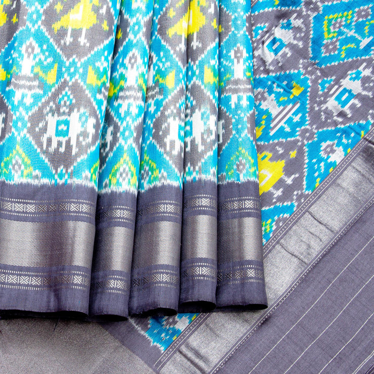 Kuberan Blue Grey Pochampally Silk Saree
