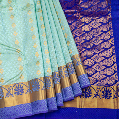 Kuberan Arctic Blue Pure Silk Saree