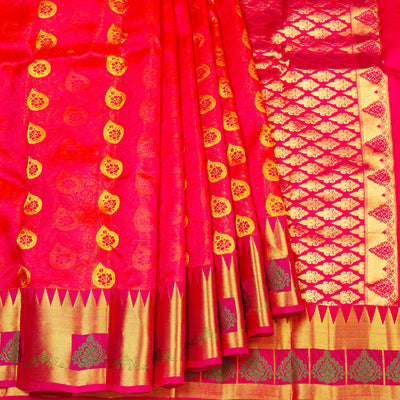 Kuberan Orange Pure Silk Saree