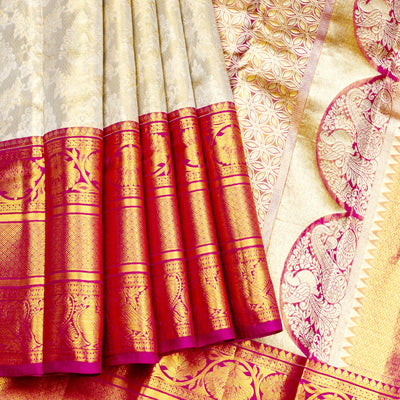 Kuberan Grey Red Pure Silk Saree