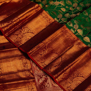 Kuberan Bottle Green Maroon Kanchipuram Silk Saree