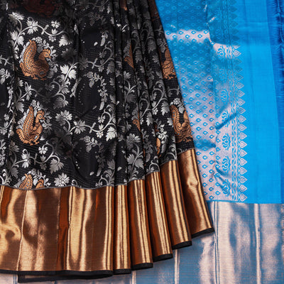 Kuberan Black Blue Kanchipuram Silk Saree