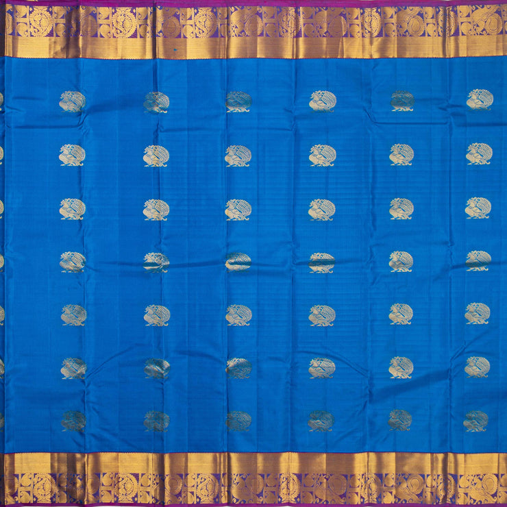 Kuberan Azure Blue Pure Silk Saree