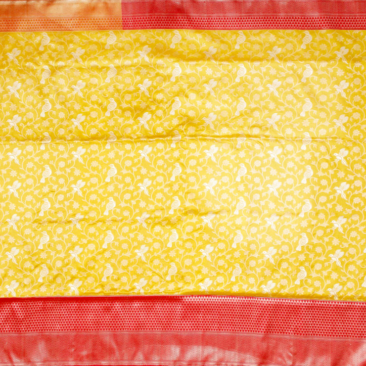 Kuberan Yellow Pink Banaras Saree