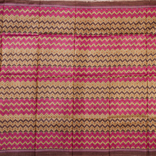 Kuberan Pink Grey Tussar Pure Silk Saree