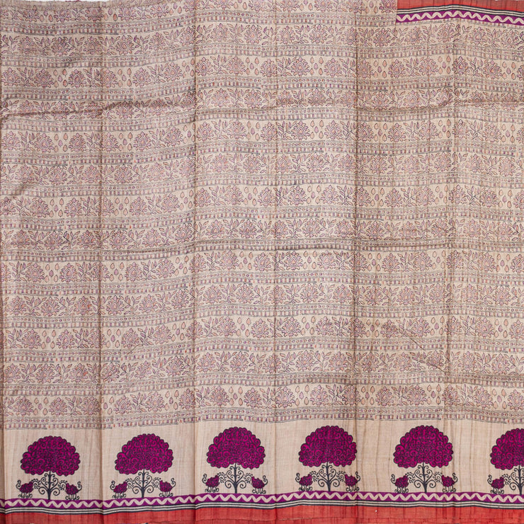 Kuberan Off White Tussar Pure Silk Saree
