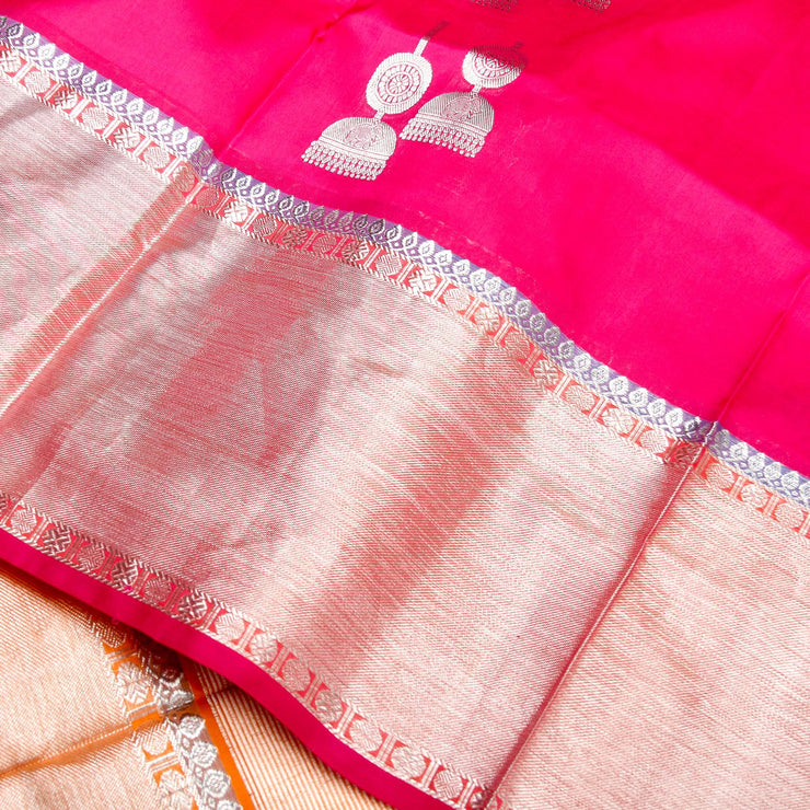 Kuberan Pink Orange Banaras Saree