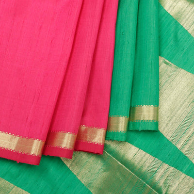 Kuberan Pink Green Raw Silk Saree