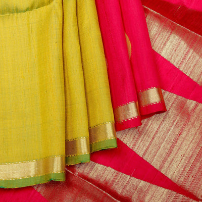 Kuberan Green Red Raw Silk Saree