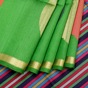 Kuberan Dark Green Raw Silk Saree