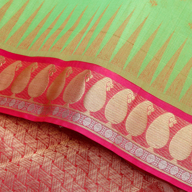 Kuberan Green Pink Cotton Silk Saree