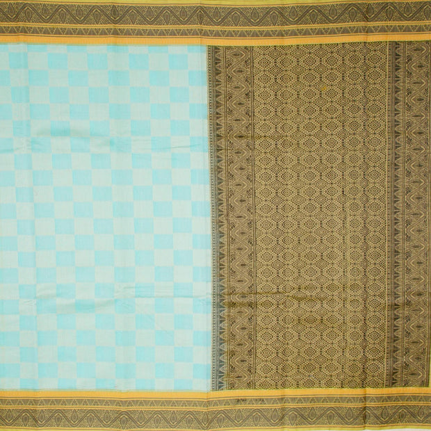 Kuberan Blue Black Cotton Silk Saree