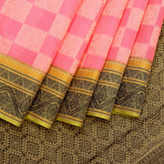 Kuberan Pink Black Cotton Silk Saree