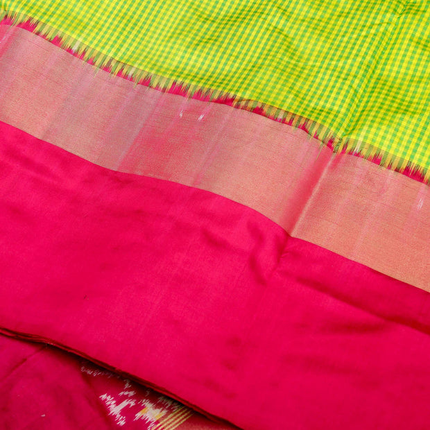 Kuberan Green Pink Pochampally Silk Saree