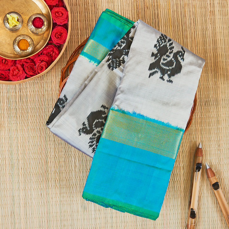 Kuberan Grey Blue Pochampally Silk Saree