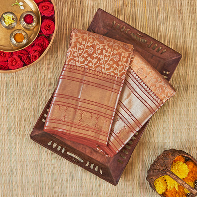 Kuberan Copper Silver Kanchivaram Silk Saree