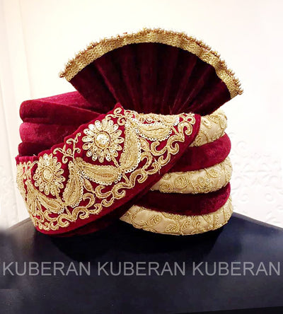 Kuberan Red Velvet Wedding Safa