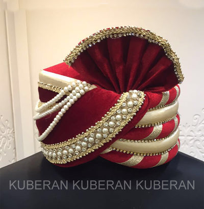 Kuberan Red Cream Wedding Safa