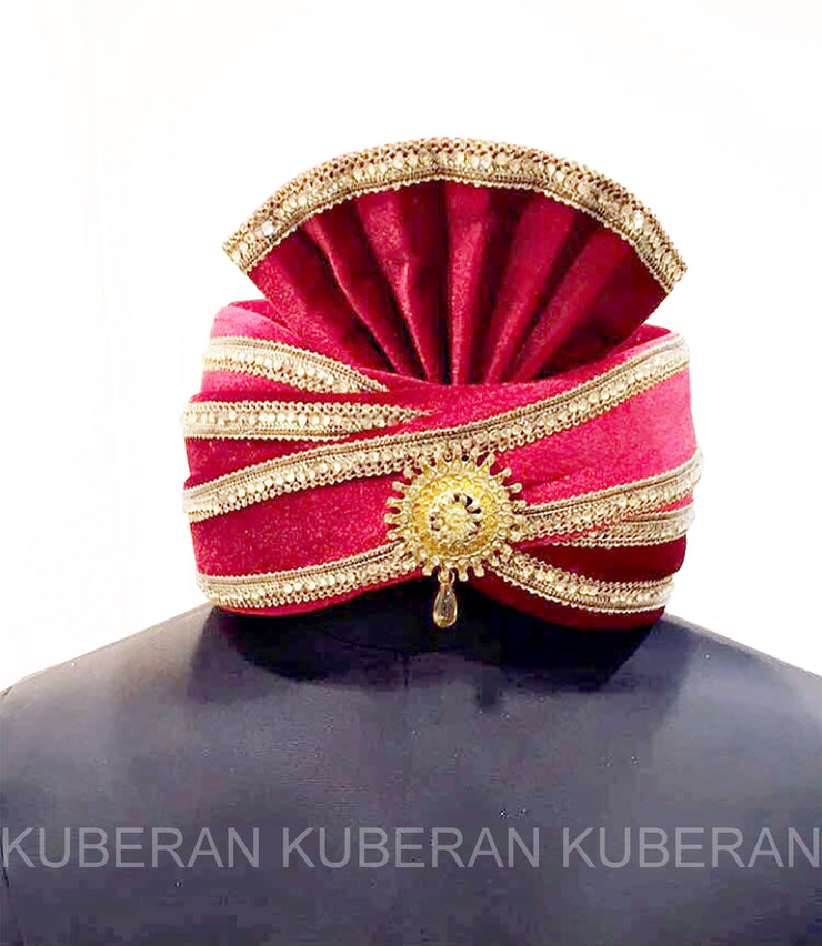 Kuberan Red Golden Satin Wedding Safa