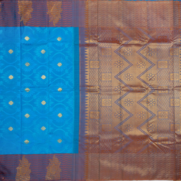 Kuberan Blue Copper Kanchivaram Silk Saree