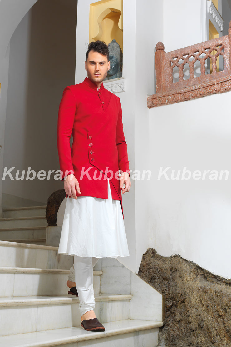 Kuberan White Red Sherwani
