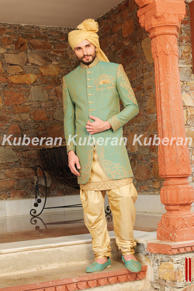 Kuberan Green Cream Sherwani