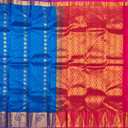 Kuberan Aqua Blue Red Pure Silk Saree