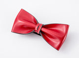 Italian Gentleman Leather Bow Tie #015001 Red