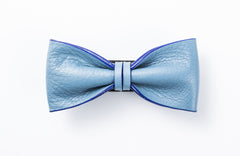 Italian Gentleman Leather Bow Tie #014005 SKY BLUE