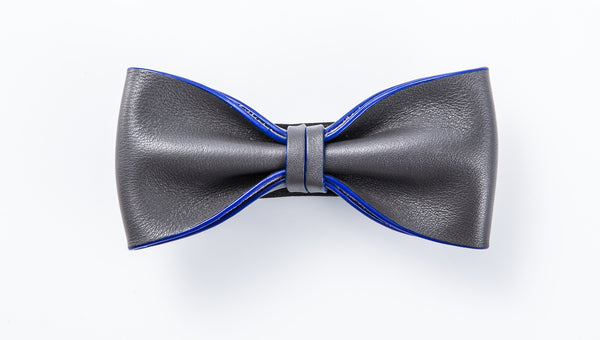Italian Gentleman Leather Bow Tie #014005 GREY