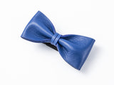 Italian Gentleman Leather Bow Tie #014005 BLUE