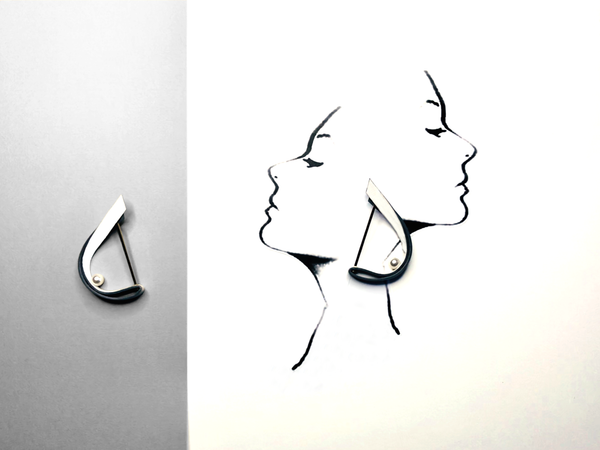 帆船造型皮革珍珠耳環 Sailing Shape Leather Pearl Earring -Grey 灰