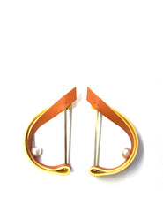 帆船造型皮革珍珠耳環 Sailing Shape Leather Pearl Earring - Orange