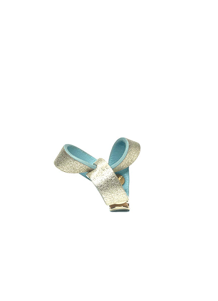 Shimmer Baby Blue Trinity Leather Ring  粉藍色金屬皮革三角戒指