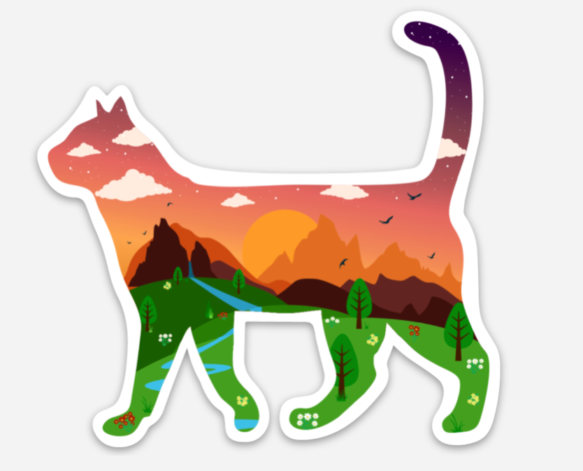 Cat Adventure Landscape Sticker