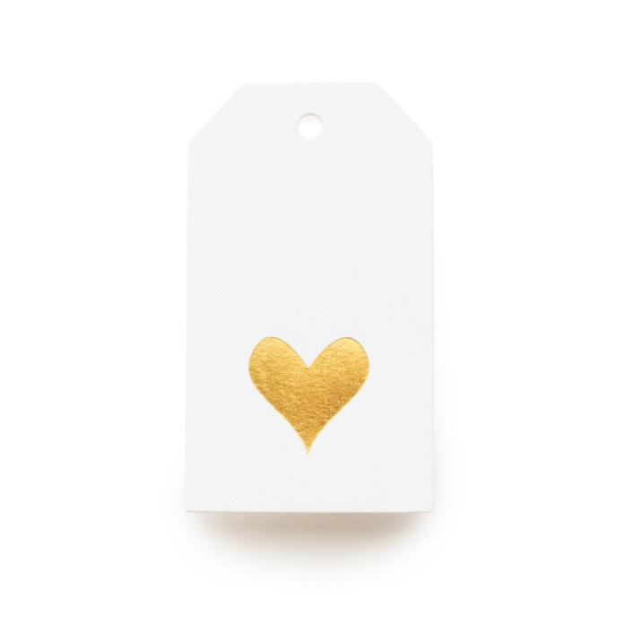 Gold Heart Tag, White Tags