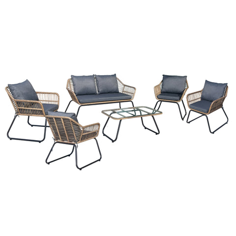 LUGANO 6 Piece Sofa Seating Set With Cushions