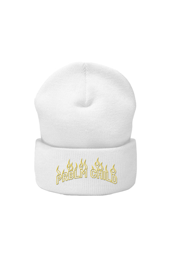 Problem Child Flames White Beanie