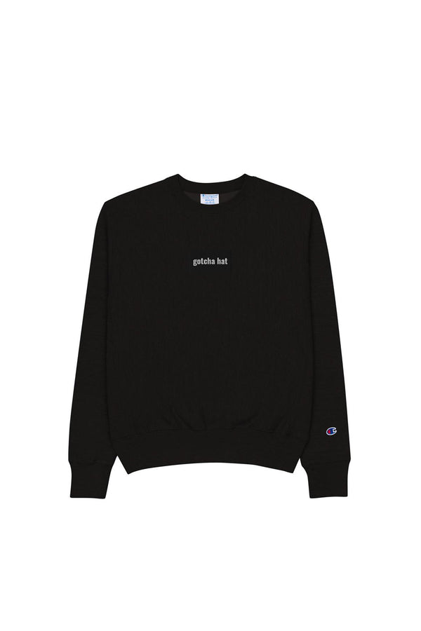 gotcha hat Limited Black Champion Crewneck