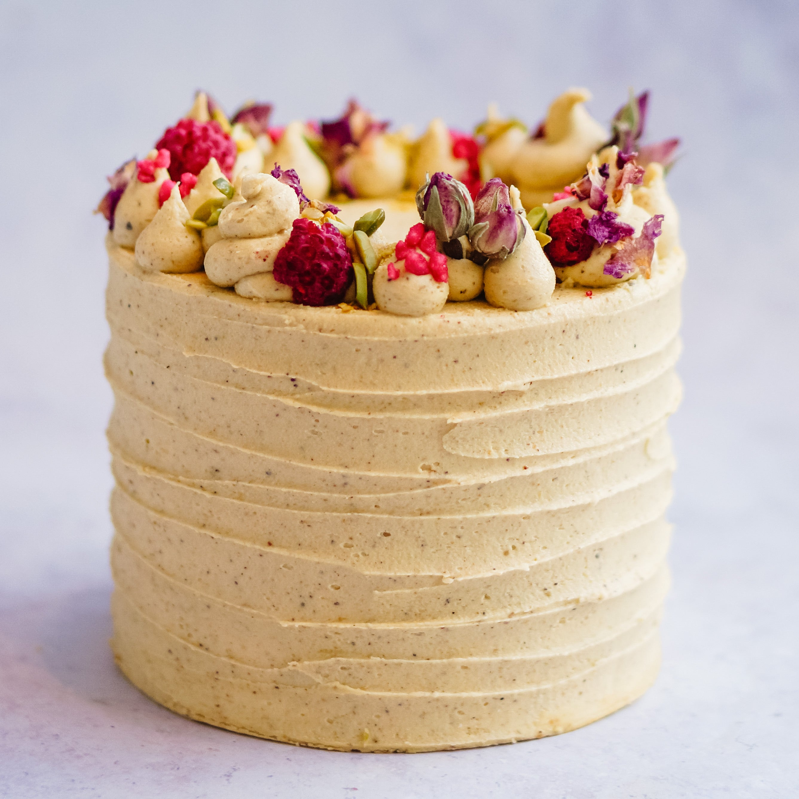 Rose, Raspberry and Pistachio Cake