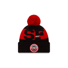 Load image into Gallery viewer, San Francisco 49ers New Era 2020 NFL Sideline Official Sport Pom Cuffed Knit Hat/Toque