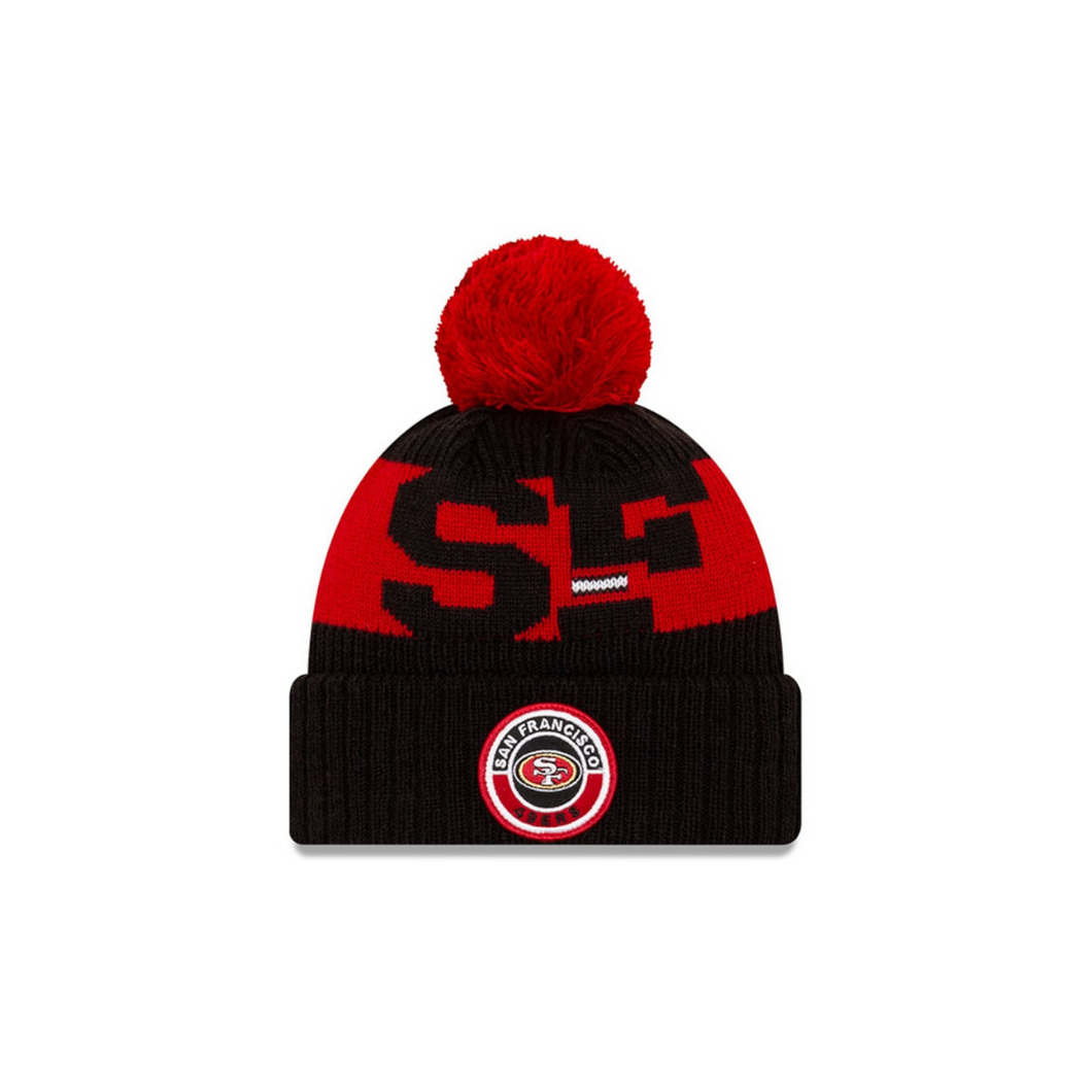 San Francisco 49ers New Era 2020 NFL Sideline Official Sport Pom Cuffed Knit Hat/Toque