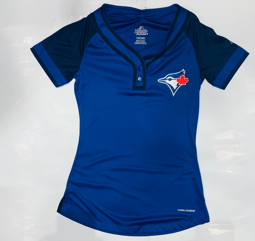 Toronto Blue Jays Women's Blue Buttoned T-Shirt