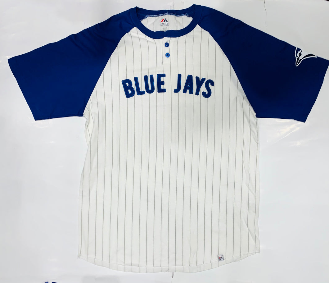 Toronto Blue Jays White/Blue Stripe Majestic T-Shirt