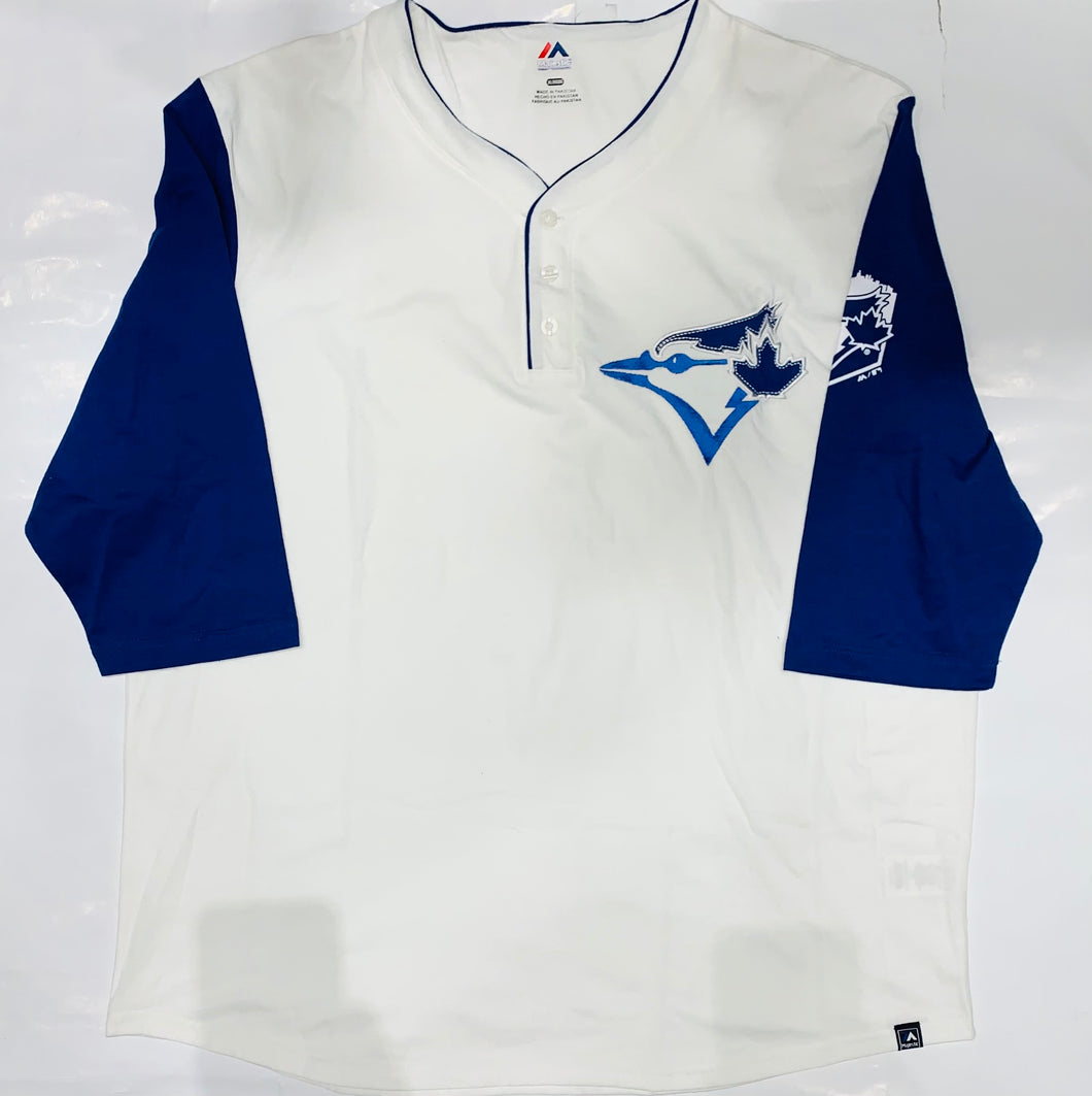 Toronto Blue Jays Majestic White/Blue Button-Up T-shirt
