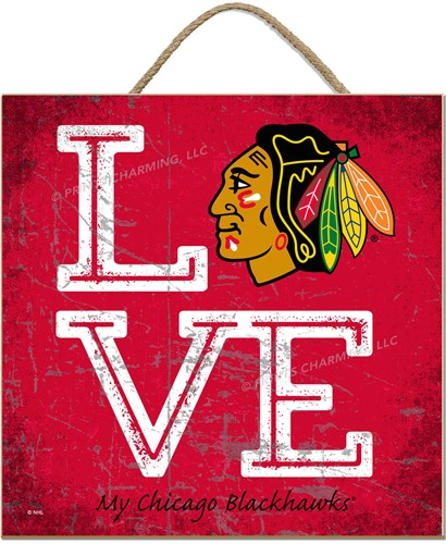 NHL 'Love My Team'  10x10 Square Wood Sign